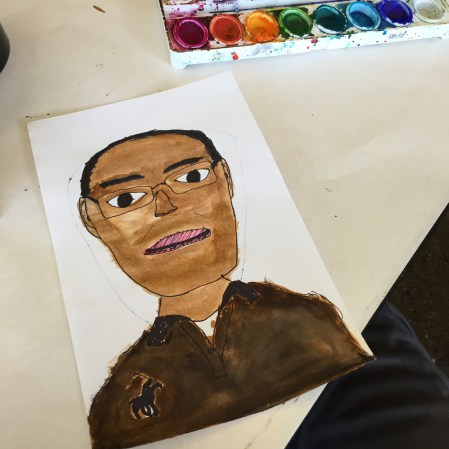 "A self-portrait done at a faculty day at the beginning of the year. I titled it ""Cameron 'Samuel L. Jackson' Barnett"""