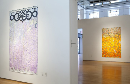 Installation shot of Robert Zakanitch: Hanging Gardens at Nancy Hoffman Gallery showing  Wisteria II  and (distance)  Fireglow  from the series. Courtesy of Nancy Hoffman Gallery