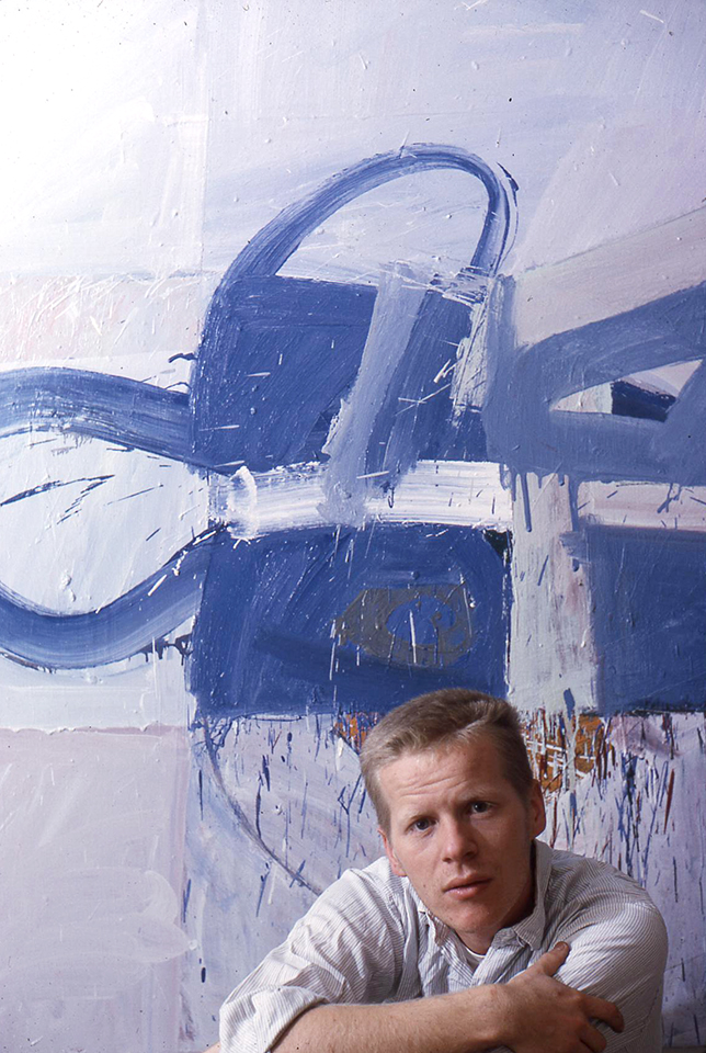 Zakanitch in his Studio at 6th Street and Avenue C in New York with Snow (1962), Oil on canvas, 60 x 44 in. (152.4 x 111.8 cm), 1962. Photographer Unknown