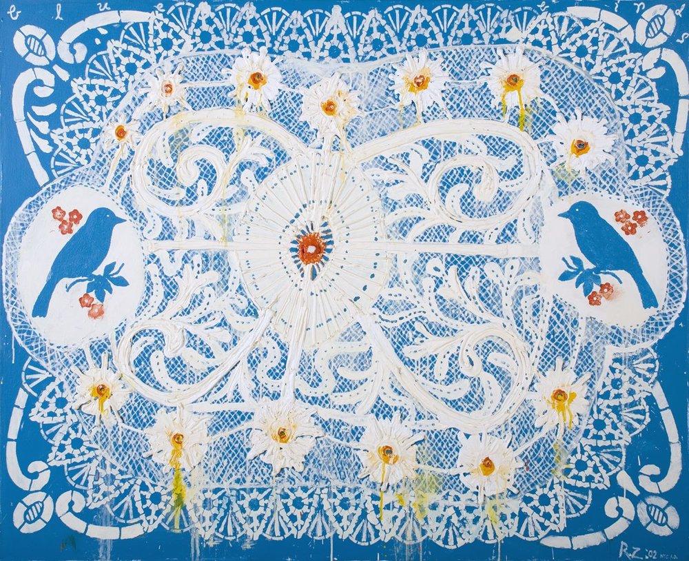 Blue Birds (Lace Series), 2001