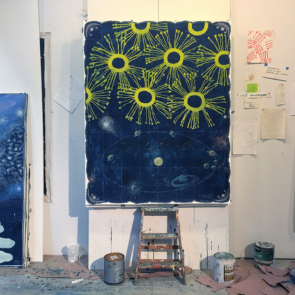 In the studio of Robert Zakanitch: The Celestial Series (in progress), December 28, 2017. Photo: Jason Andrew