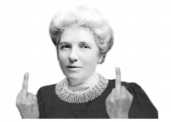 Artist's impression of Kate Sheppard communicating with the patriarchy / Inspired by @friendsoffriendsdesign