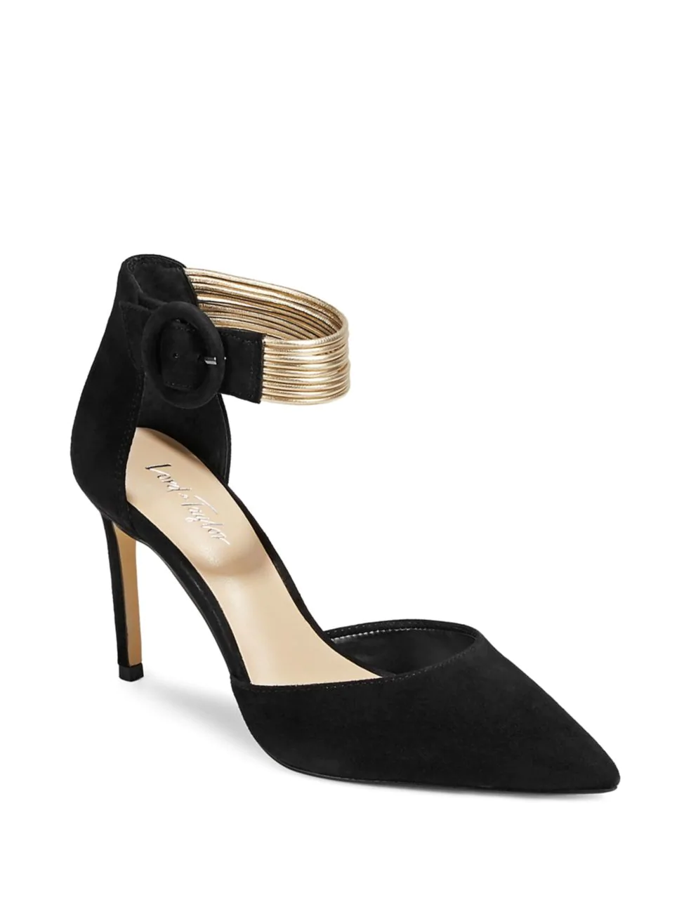 LORD & TAYLOR. Pointed-Toe Suede Ankle-Strap Pumps.