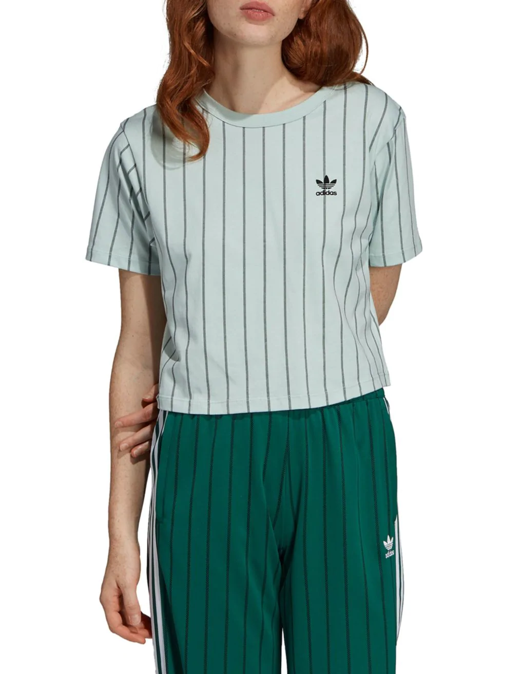 adidas. Striped Cotton Jersey Cropped Top