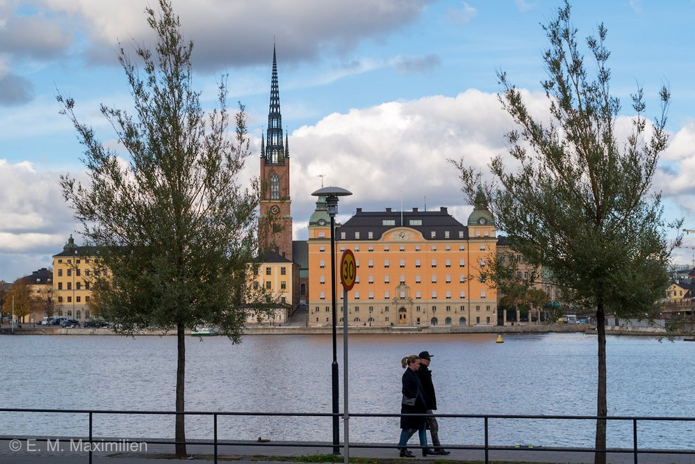 Stockholm sweden - Brilliant lighting and view of the Riddarholmen Church. Burial place for Swedish monarchs. One of the oldest building in the city, dating back to 13th century.