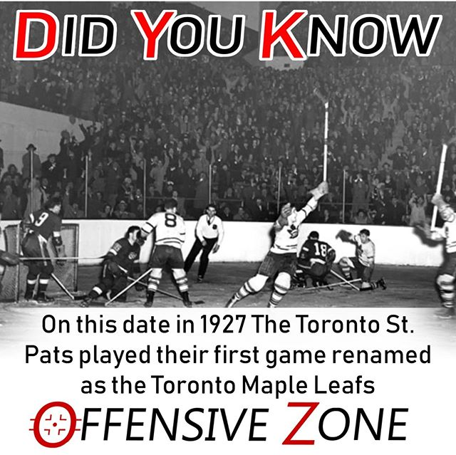Did You Know? On this day in 1927 Toronto played it's first game as the Maple Leafs, playing previously as the St. Pats. Ironically, Pat Patterson scored the first goal under the new look Leafs, beating the New York Americans 4-1.⠀ .⠀ .⠀ .⠀ .⠀ .⠀ .⠀ .⠀ .⠀ .⠀ #NHL #DYK #Hockey #Hockeygram #HockeyLove #Hockeylife #Toronto #MapleLeafs #LeafsForever #TMLTalk #NewYork #Americans #Podcast