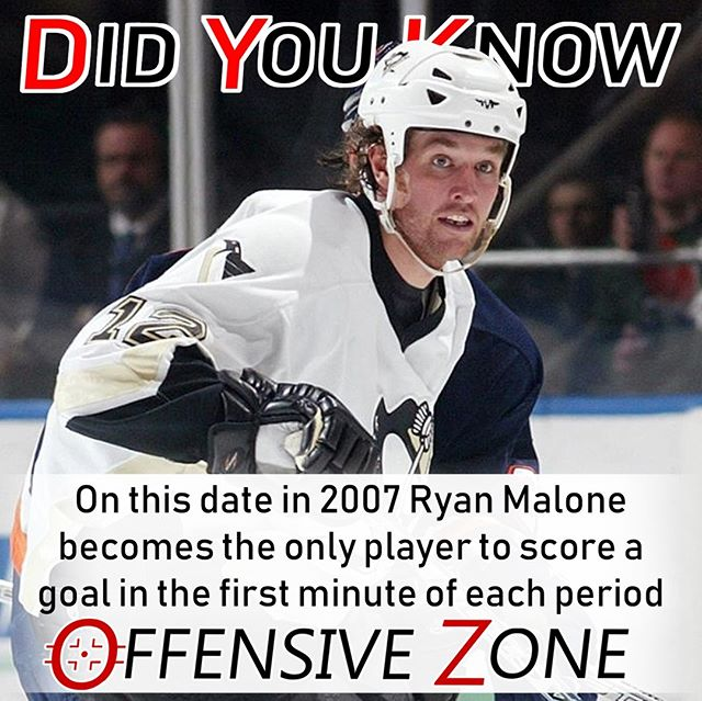 Did You Know? On this date in 2007 Penguins' Ryan Malone became the first NHL player to score a goal in the first minute of each period, netting a hat trick against the Flyers, ultimately losing 6-5.⠀ .⠀ .⠀ .⠀ .⠀ .⠀ .⠀ .⠀ .⠀ #NHL #Hockey #DYK #Hockeygram #Hockeylife #Hockeylove #Pittsburgh #Penguins #LetsGoPens #Philadelphia #Flyers #Philly #Podcast