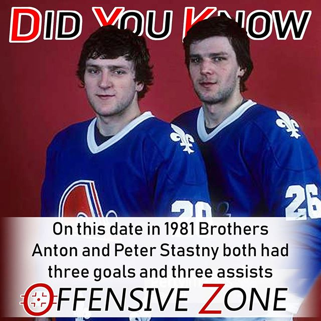 Did You Know? On this date in 1981 Quebec Nordique rookies and brothers Anton and Peter Stastny each had a hat trick and three assists, in a 9-3 victory over Vancouver.⠀ .⠀ .⠀ .⠀ .⠀ .⠀ .⠀ .⠀ .⠀ .⠀ #NHL #Hockey #DYK #Hockeylove #Hockeygram #Hockeylife #Quebec #Nordiques #Vancouver #Canucks #WeAreAllCanucks #Podcast
