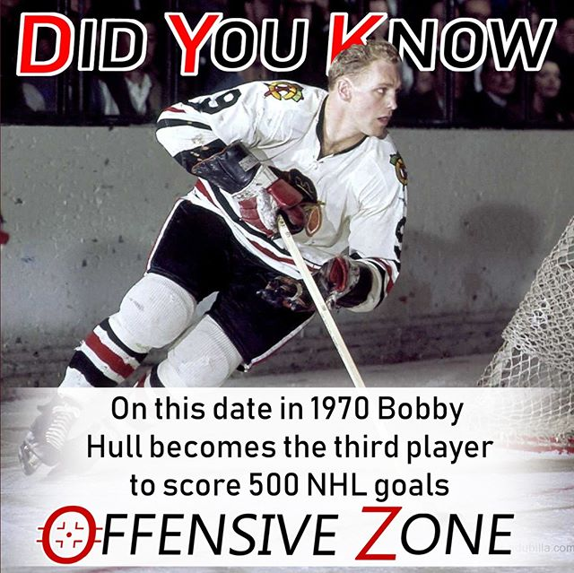 Did You Know? On this date in 1970 Blackhawks forward Bobby Hull became the third player to score 500 goals, beating Rangers goalie Ed Giacomin in a 4-2 win over New York.⠀ .⠀ .⠀ .⠀ .⠀ .⠀ .⠀ .⠀ #NHL #DYK #Hockey #Hockeygram #Hockeylife #Hockeylove #Chicago #Blackhawks #NewYork #Rangers #NYR #Podcast