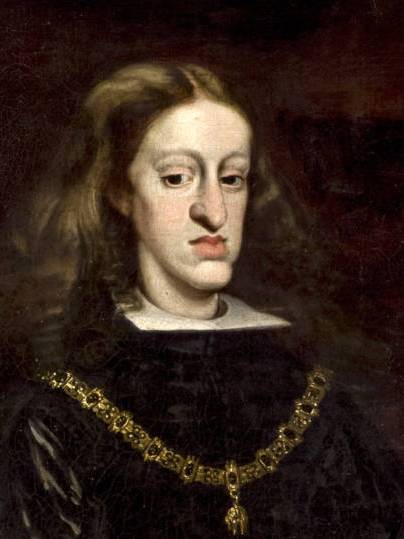 Charles II, the inbred last Hapsburg King of Spain, whose death without heirs started the War of the Spanish Succession
