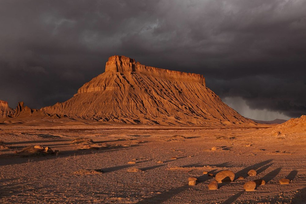 A dramatic stormy image of Factory Butte, where I have not yet been