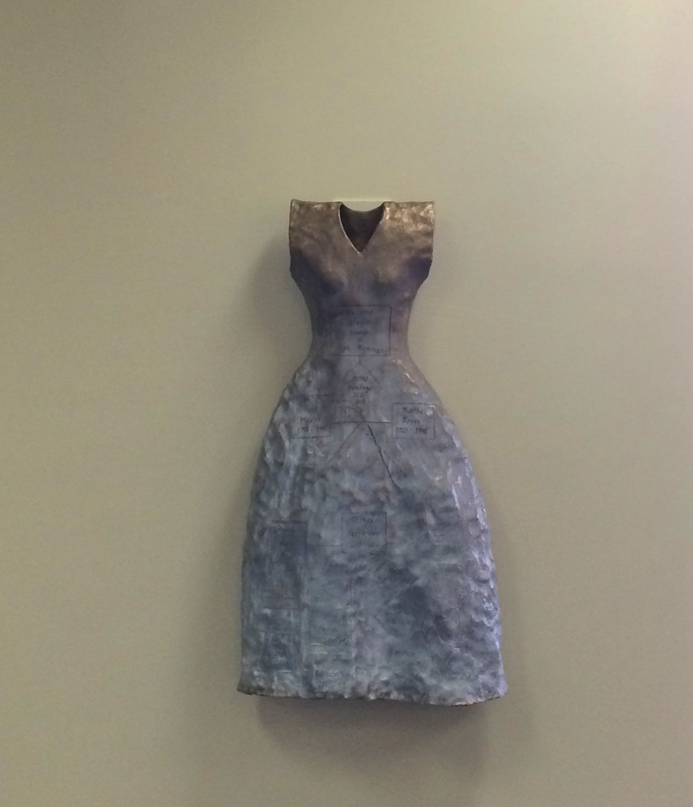 "Self Evident (For Sally Hemings) , Installation Inglewood City Hall Library, 2015, bronze, ferric nitrate, acrylic, wax; 40 ½ x 20"" x 10."""