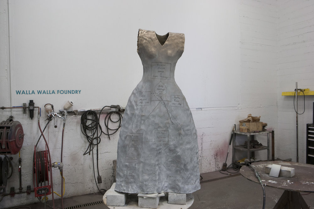 "Self Evident (For Sally Hemings)  Walla Walla Foundry, 2015, bronze, ferric nitrate, acrylic, wax; 40 ½ x 20"" x 10."""