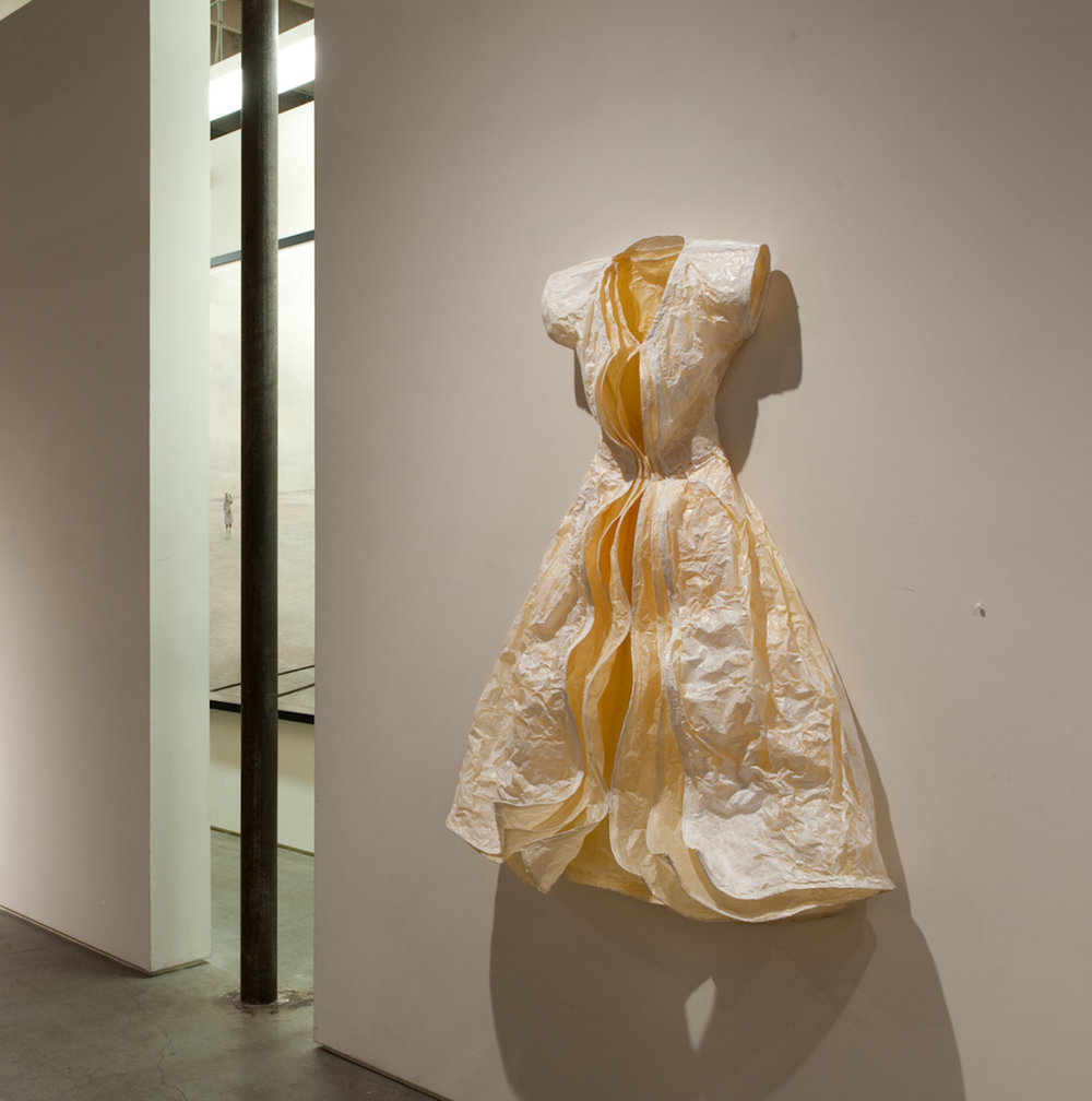 "Shell,  2010.  App. 5 1/2' x 3 3/4' x 2' deep, wall-mounted. Paper, wire, acrylic. Winston Wachter Gallery, ""Dress Envy,"" Seattle, 2010."