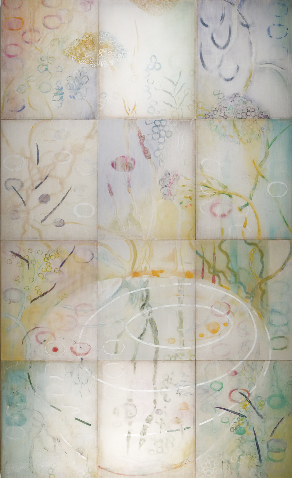 "Reflecting Pond, 2007, watercolor, semi-translucent paper adhered to cradled plexiglass panels, 82"" x 50"" x 2' deep."