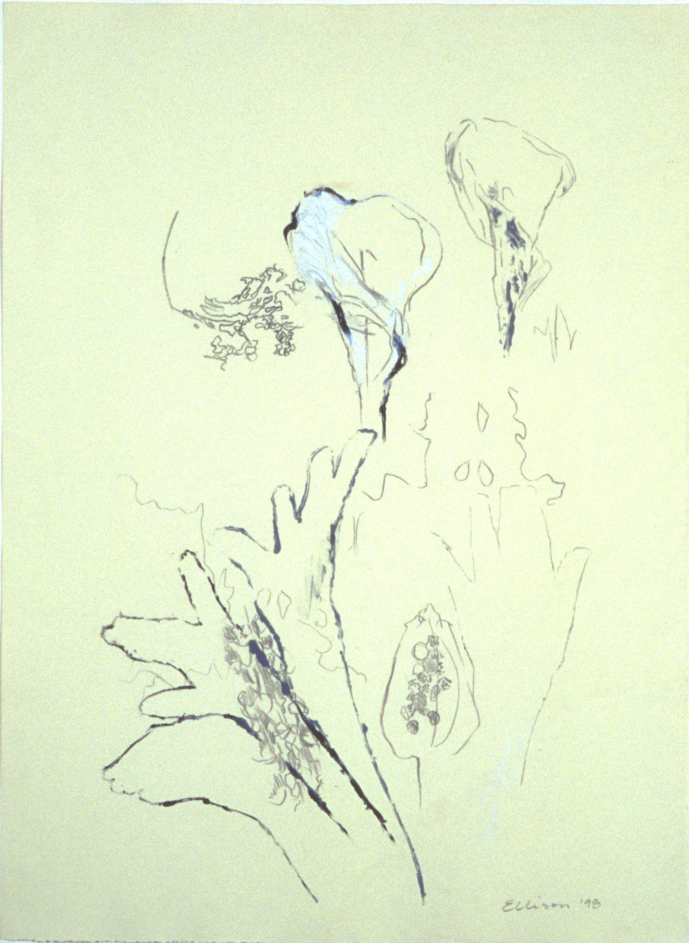 """""""Caught up Into Heaven,"""" 2001, monoprint on Rives BFK, 30"""" x 22."""""""