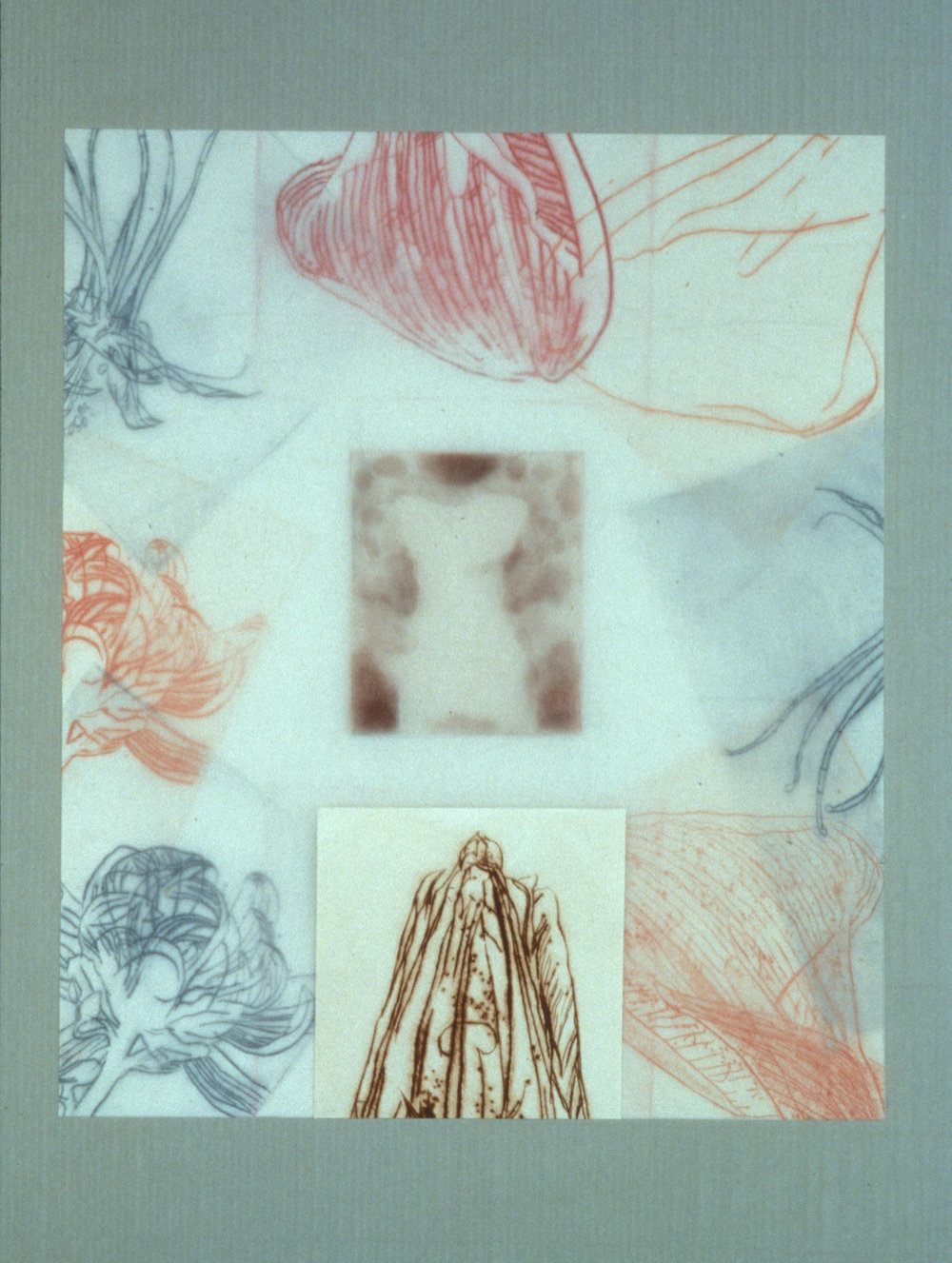 """""""Figure with Broken Flowers,"""" 2001, monotype with etching and chine collé, wrapped with aquatint on silk tissue on Roma paper, 28"""" x 20."""""""