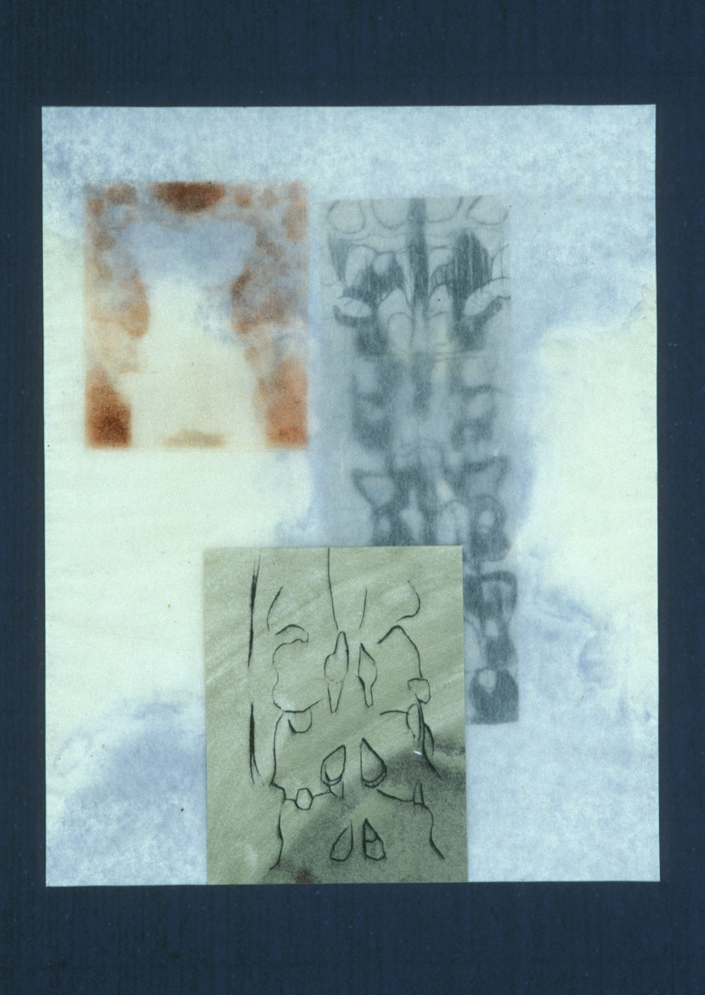 """""""Figure with Spine,"""" 2001, monotype with etching and chine collé, wrapped with aquatint on silk tissue on Roma paper, 28"""" x 20."""""""