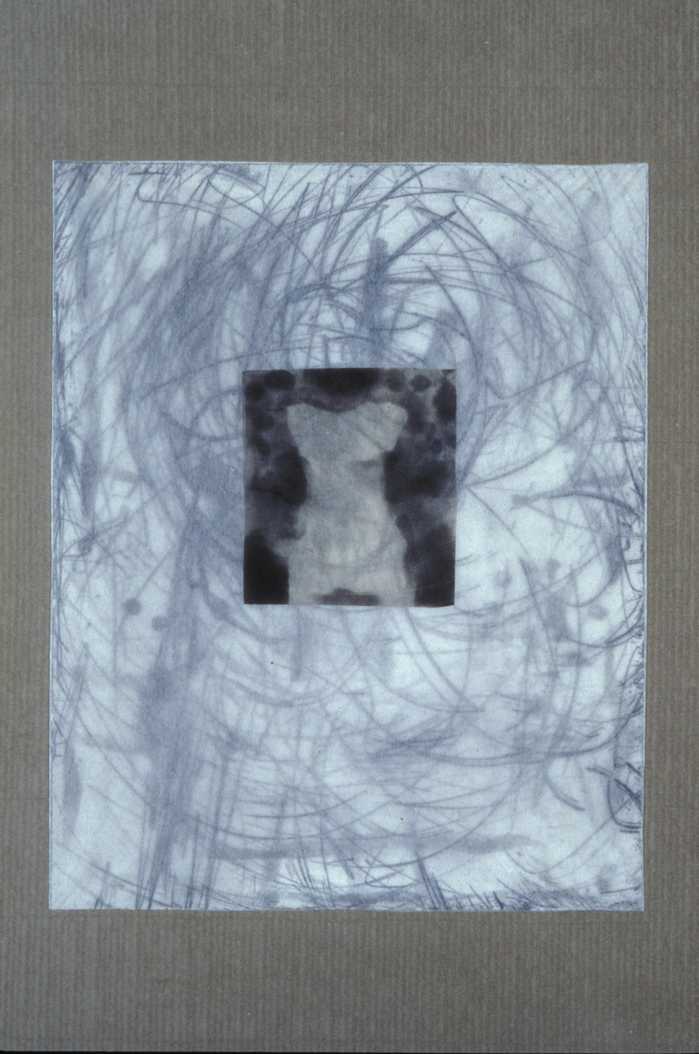 """""""Figure with Inscriptions,"""" 2001, monotype with etching and chine collé, wrapped with aquatint on silk tissue on Roma paper, 28"""" x 20."""""""