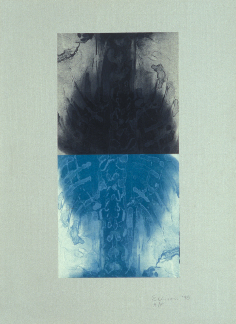 """""""Double Spine Turquoise,"""" 2001, monotype with lithograph chine collé on Roma paper, 28"""" x 20."""""""
