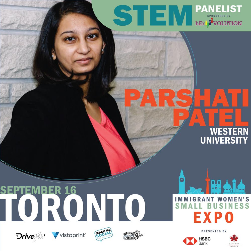 STEM Panelist - One of the four STEM Panelists at the Immigrant Women's Small Business Expo in Toronto to be held on September 16, 2018