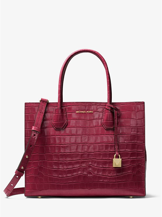 MICHAEL KORS Mercer Crocodile - The MICHAEL MICHAEL KORS Mercer Crocodile-Embossed-Leather Tote is available in 2 diffrent colors both on sale for $214.80