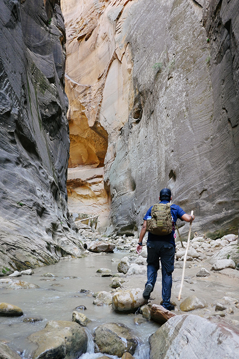 Hiking The Narrows in Zion National Park, Utah.