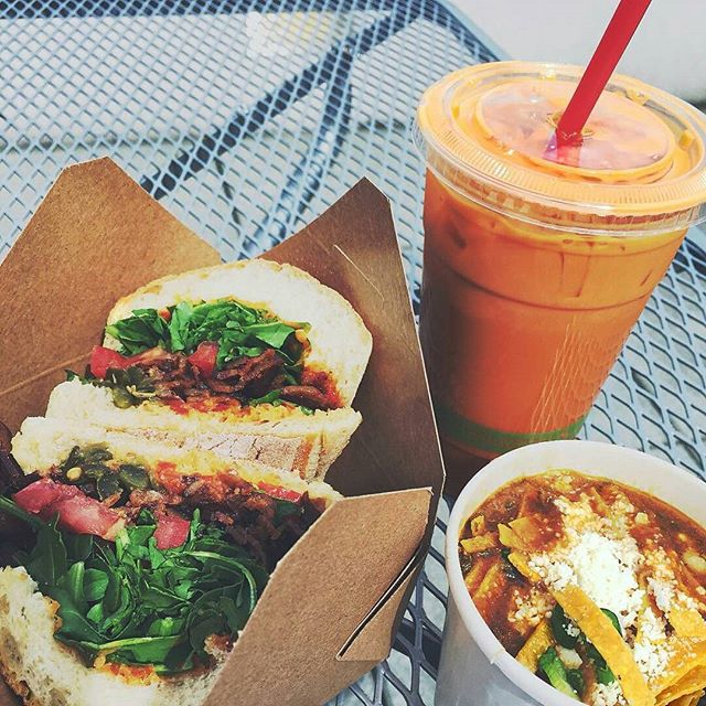 #Repost thanks to @pdxstateofmind ・・・ White Bean Pozole Chili BLT, Pickled Peppers, Arugula, Aioli Thai Iced Tea