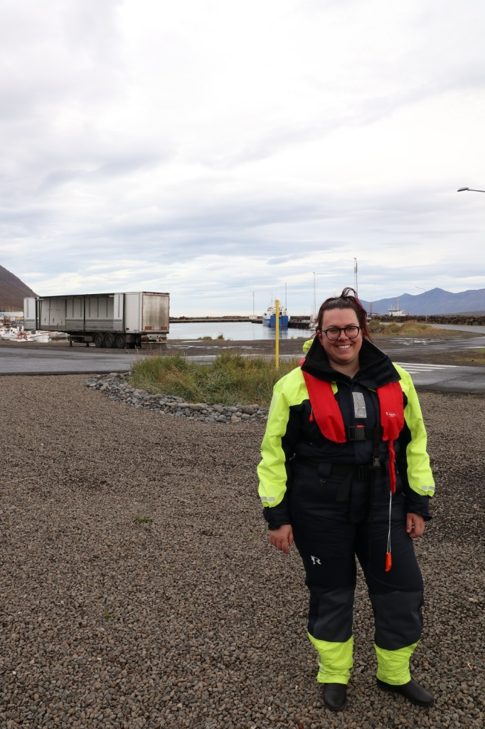 Cold weather suit for whale watching in Dalvik. Photo by Thomas Kear.
