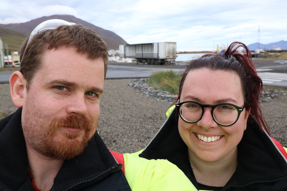 Thomas and Tamara selfie before whale watching in Delvik.