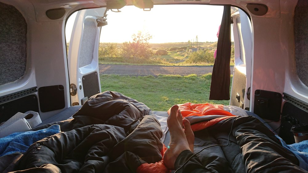 The view of Höfn campground from inside our camper van. Photo by Thomas Kear.