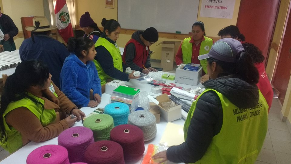 Crochet and knitting training session in one of Pan Peru's community centers in Pampas (12,500 feet above sea level).