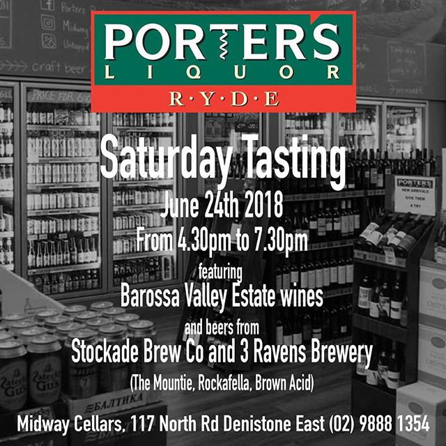 This Saturday head instore for a free tasting of @barossavalleyestate wine range as well as @stockadebrewco Mountie Maple Imperial Stout and Rockafella Bourbon Barrel Aged Dark Ale, plus @3ravensbrewery Brown Acid Cola Beer.  4.30pm to 7.30pm this Saturday 23rd June 2018.