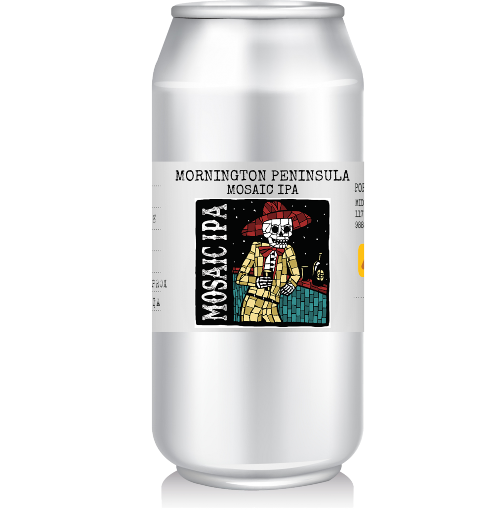 Mornington Peninsula - Mosaic IPA   This single hopped Mosaic IPA is the seasonal release from Mornington Peninsula.  Stone-fruit aromas of peach and apricot abound, and lead into a palate bursting with passion fruit and ably supported by pine and grassy notes. An IPA for all seasons.