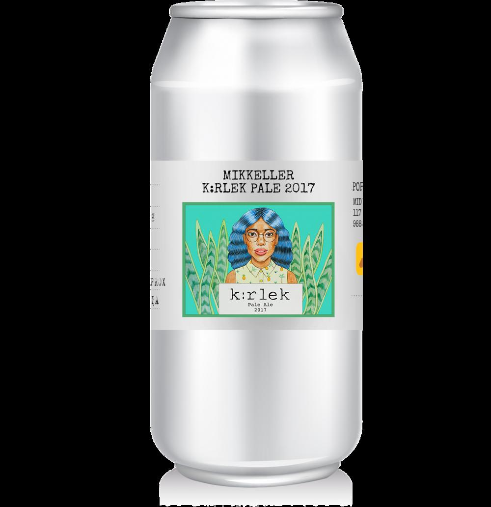 Mikkeller - K:rlek Pale 2017   Brewed by Mikkeller Aps in Denmark this beer is an American Pale Ale style.