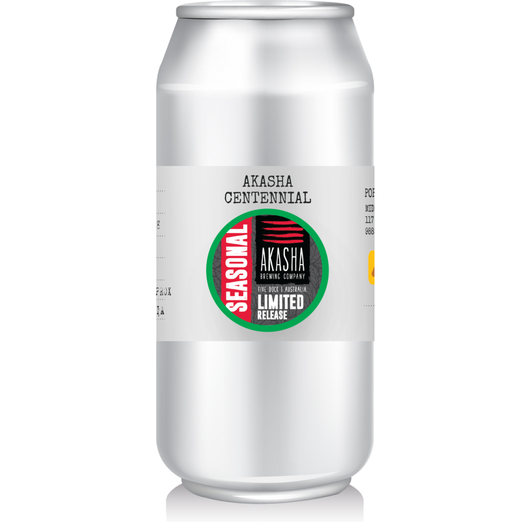 Akasha - Centennial   Limited Release single hop IPA from Akasha. These sold fast and we've only got 250mL cans remaining.
