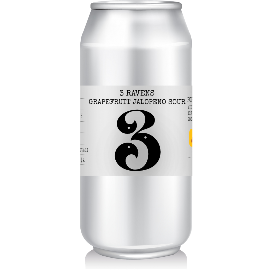 3 Ravens - Grapefruit Jalopeno Sour   Combining zesty grapefruit and fruity Jalapenos with the tropical and refreshing character of 3 Ravens Original Sour Beer Acid.  Subtle grapefruit zest, balanced, juicy, well integrated, delicate spice with soft afterburn, refreshing.