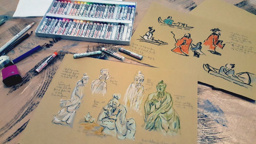 Figurative sketches, oil pastels and charcoal