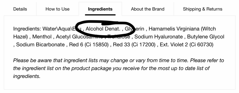 Denatured alcohol, witch hazel, and menthol don't belong anywhere near your face.
