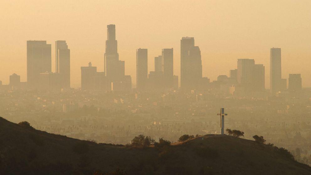 """""""June Gloom"""" haze over Downtown LA"""