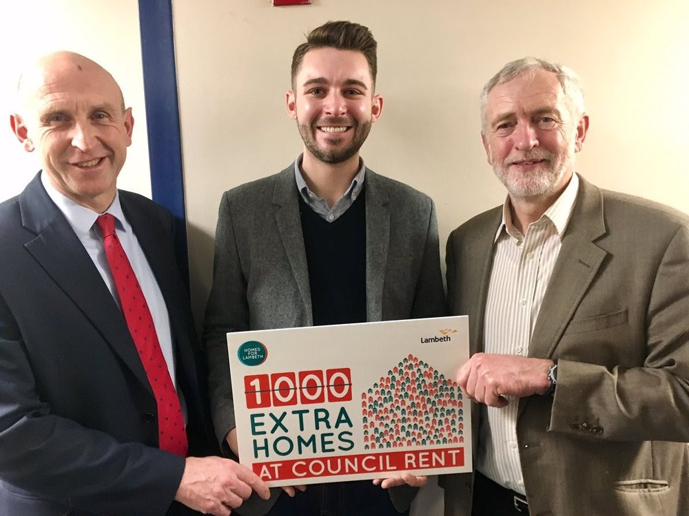 John Healey MP, Cllr Matthew Bennett and Jeremy Corbyn MP supporting Lambeth Labour's plans for 1,000 new council homes