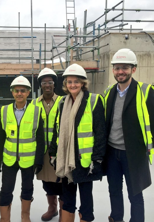 Councillors and Sadiq Khan at the building of new council homes in Vauxhall