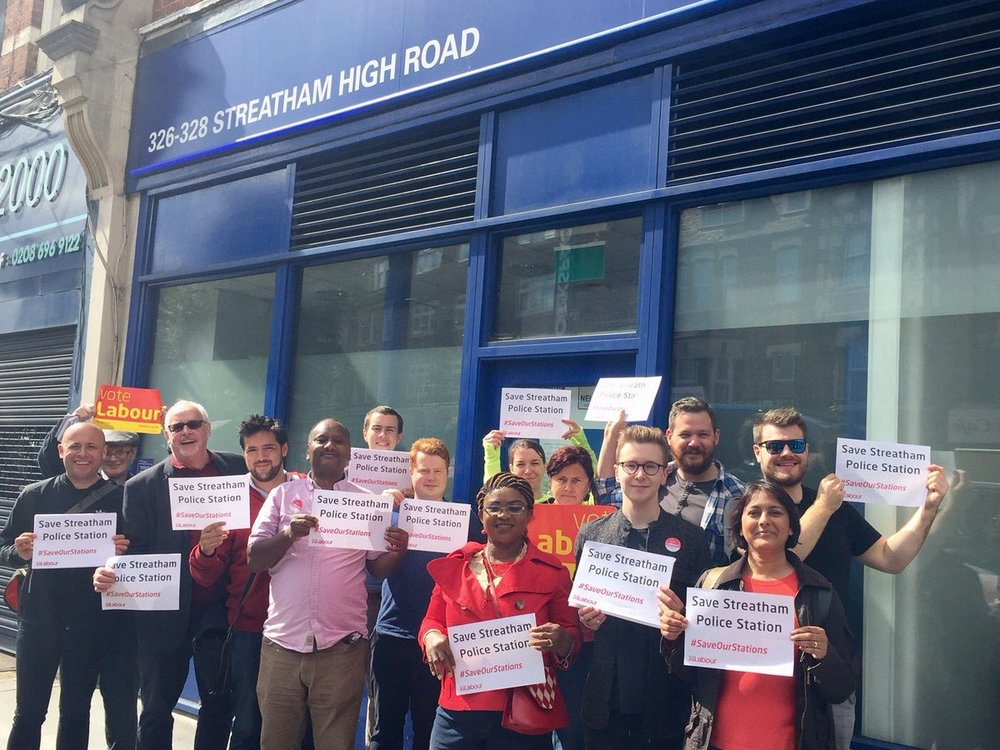 Local councillors and residents oppose the closure of Streathampolice base due to Conservative government funding cuts