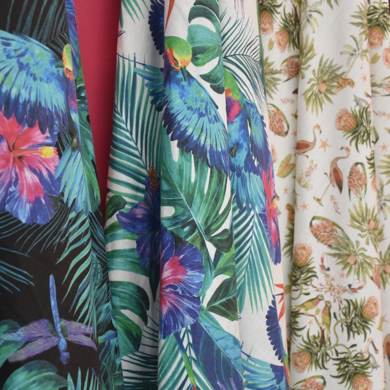 All our fabrics are digitally printed which is fabulous as we can create bespoke schemes for our clients to give them a unique colourway for their own design scheme. Our wallpapers are just beautiful.