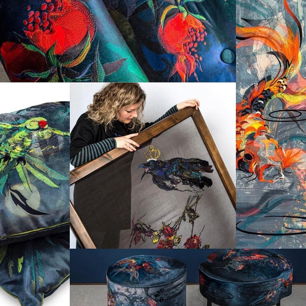 Jacky Puzey specializes in designing and producing digital embroidery for Interiors and Fashion