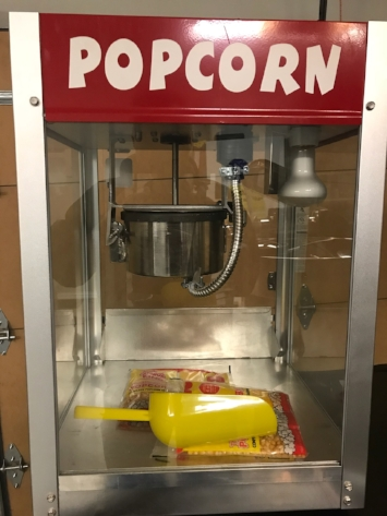 Popcorn Machine  - $60 + tax  Includes one bag of kernels/seasoning which makes approximately 15-20 servings. Popcorn bags, additional seeds, and seasoning available for a fee.