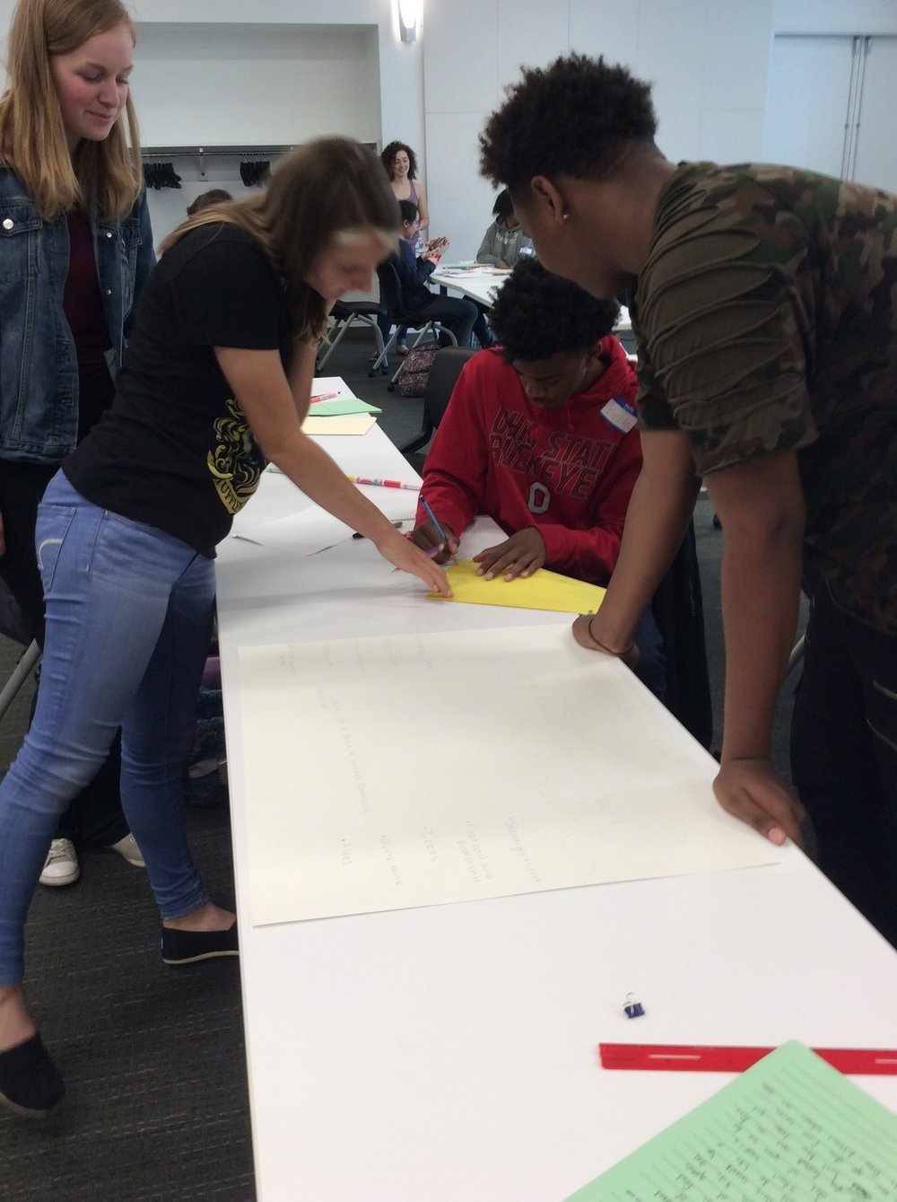 Two Olentangy Liberty students and two Columbus South students collaborate on their project.