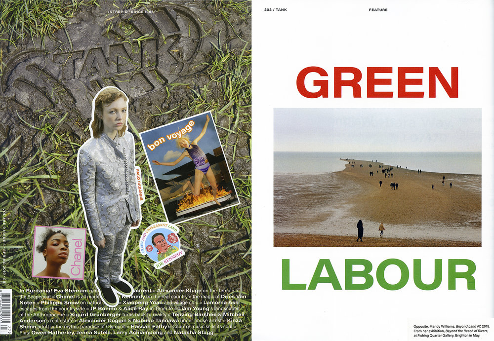 Cover of Tank Magazine (photography Sohrab Golsorkhi-Ainslie and art direction Alice Ray) and photo from Beyond Land
