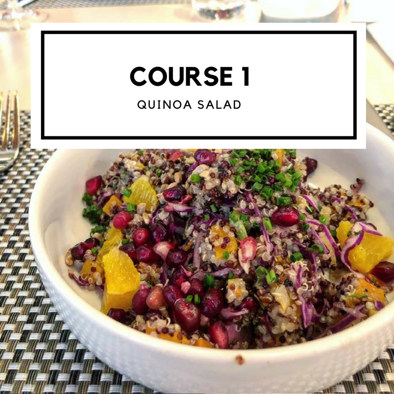 - Red cabbage, butternut squash, pomegranate seeds, orange, brussels sprout, sunflower seeds, chive, citrus dressing