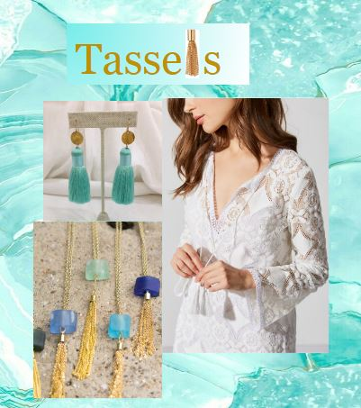 """- Tassels are absolutely EVERYWHERE this summer season! They can be found hanging on tops and cover-ups, dangling from earrings and necklaces, and decorating sandals and loafers. Tassels are a simple addition to any outfit and when added correctly, they can make you look trendy and fresh. However, be warned, too many tassels and your look can quickly resemble the fateful """"curtain dress"""" from the Carol Burnett Show interpretation of """"Gone With the Wind"""". Frankly my dear, we DO give a damn about looking fashionable, so we suggest restraining each outfit to one or two tassels maximum. This should prevent any potential curtain or drapery confusion."""